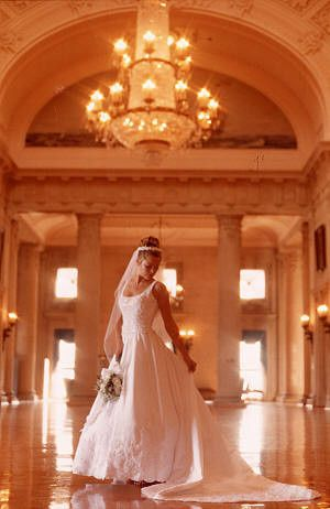 Bridal portrait indoors