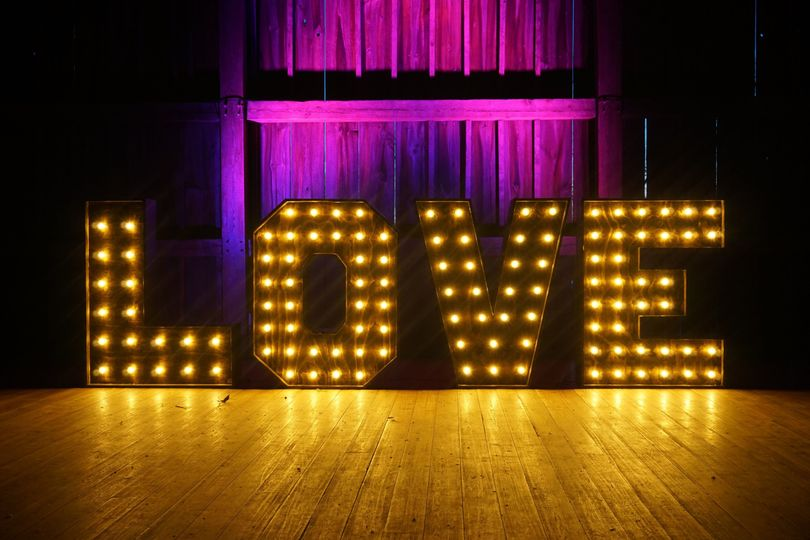 Uplighting combined with 'LOVE' sign