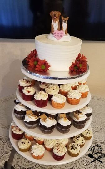 Four flavor cupcakes and topper