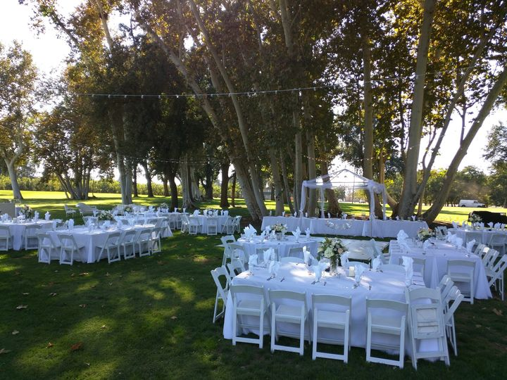 The white chairs and tables