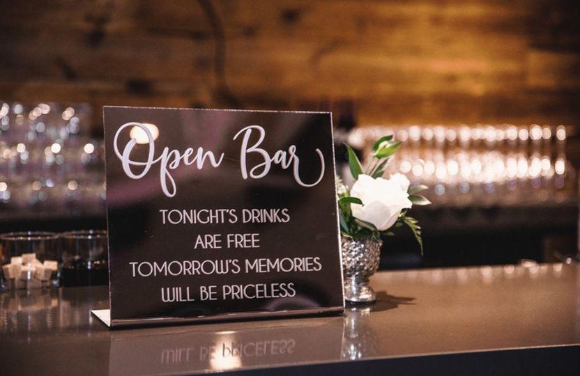 Acrylic open bar sign