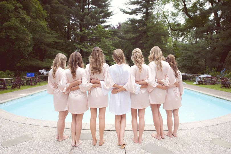 Bride with bridesmaids by the pool