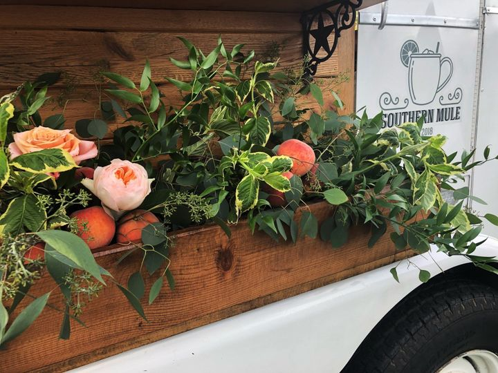 Flowers and peaches and mule