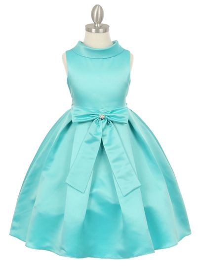cc1197 aqua satin cowl flower girl dress