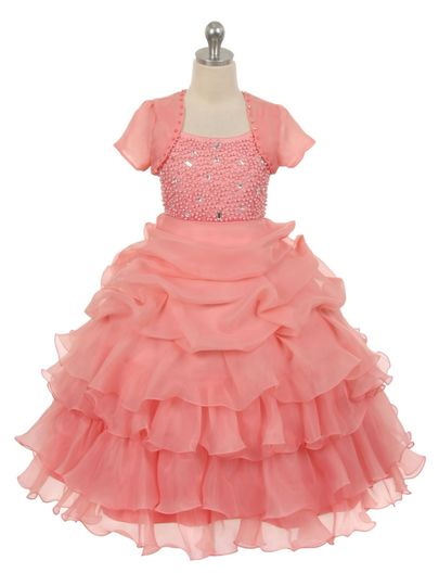 cb0333 coral organza pick up skirt flower girl dre