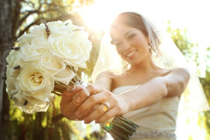 Bride shows her bouquet up close in Seattle, Washington