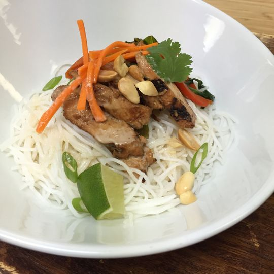 ginger chile chicken + rice noodles