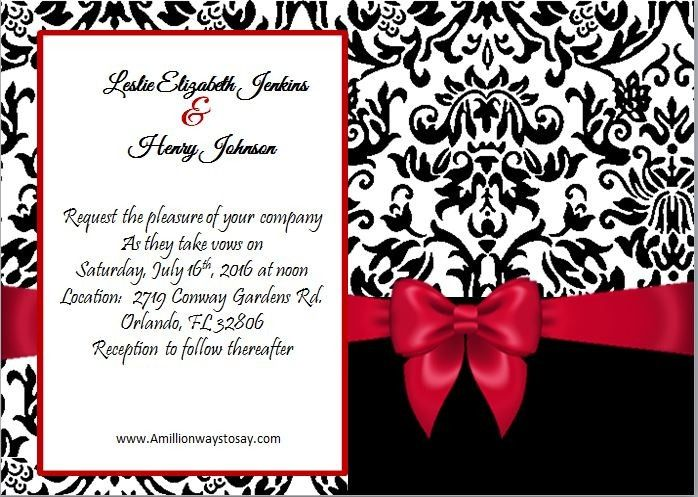 black damask with red bow