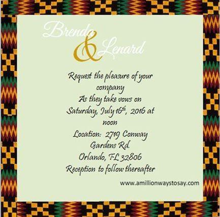 Tmx 1466550541167 Kente Wedding Invite Back Elkridge wedding eventproduction