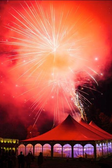 fireworks over tent