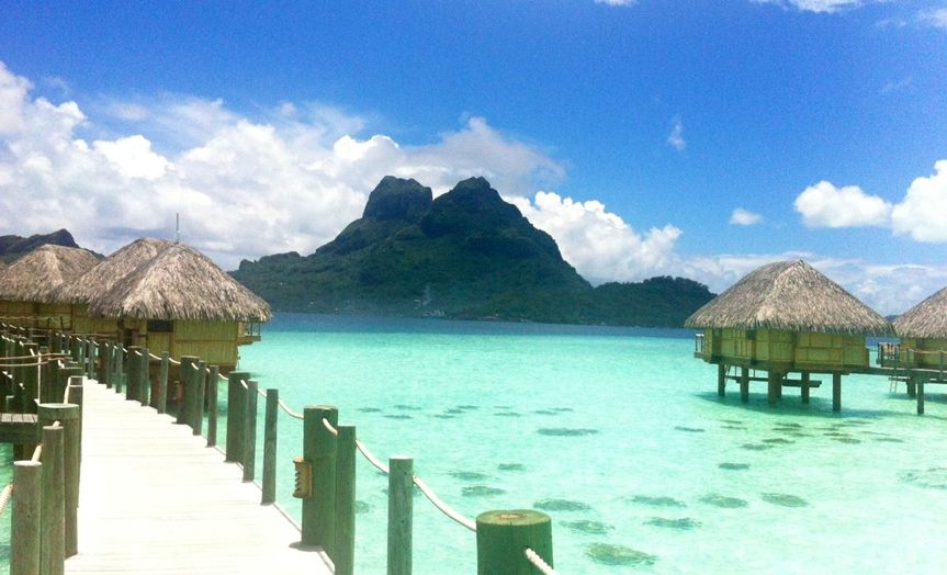 View of mt otemano, bora bora honeymoon hot spot, ask us about this affordable romantic resort!