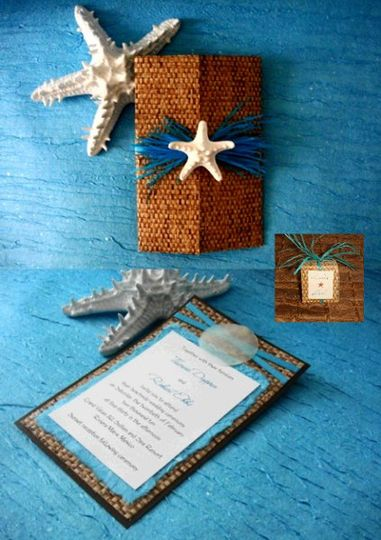 Custom Beach Theme Invitation with a shell and Starfish Embellishmnt.  Hand crafted Bamboo Gatefold.