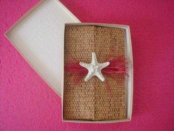 Custom Beach Theme Boxed Invitation with a shell and Starfish Embellishmnt.  Hand crafted Bamboo...