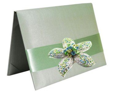Silk Folio Invitation adorned with Starfish Brooch that is encrusted with turquoise, green and faux...