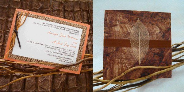 Rustic Invitations that are perfect for a Fall or Winter Wedding.  Choose from the leaf and ribbon...