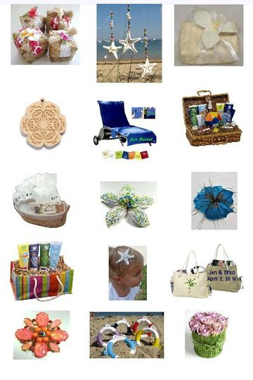 Unique favors and personalized gifts for your wedding.  Perfect embellishments and gifts for a beach...