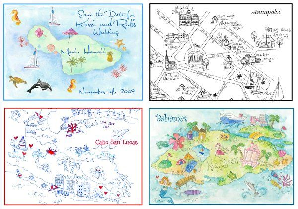Hand Drawn Maps that are customized and illustrated for your wedding or destination wedding.