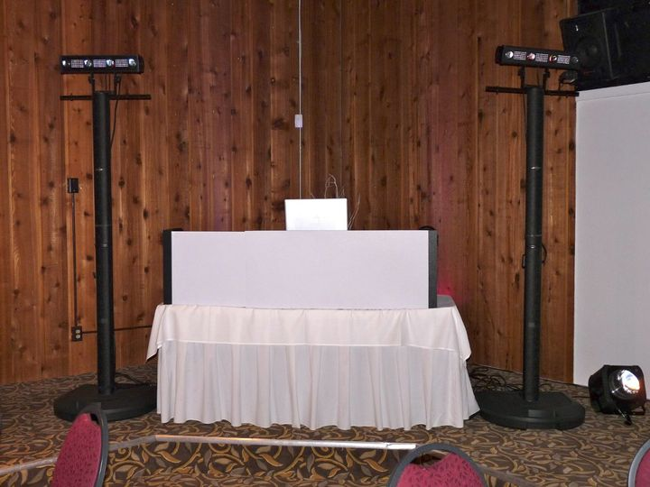 DJ station with white linen