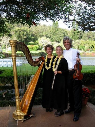 Harp, Violin, and Flute Trio provide wedding and reception music on Lana'i