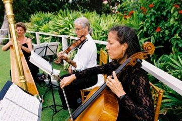Harp, Violin, and Cello provide Ceremony Music for Four Seasons Resort Maui Wedding