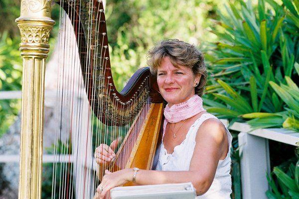 Celia Canty, Harpist, preparing for Four Seasons Resort Maui Wedding Ceremony