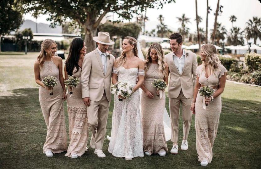 Sierra lace bridesmaids' gown