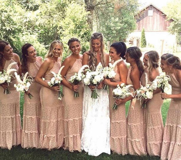 Diamond lace halter bridesmaids' gown
