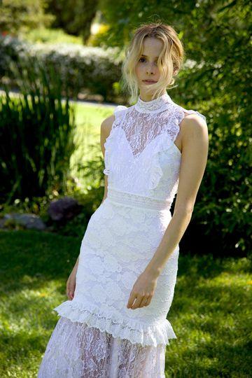 Victorian apron bridal gown