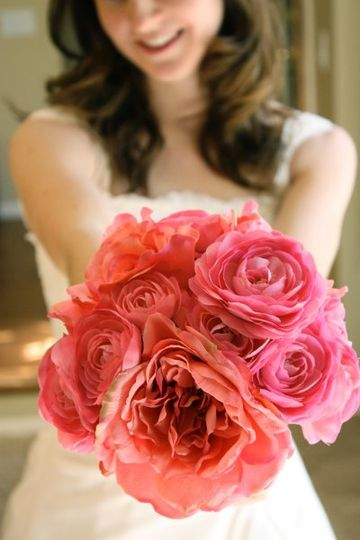 Bright Pink Rose Bouquet (silk flowers)
