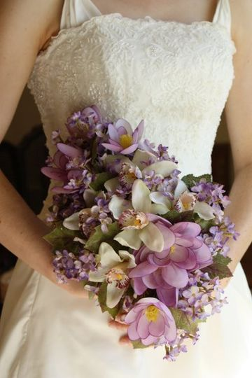 Purple Lilac Bouquet (silk and real touch flowers)