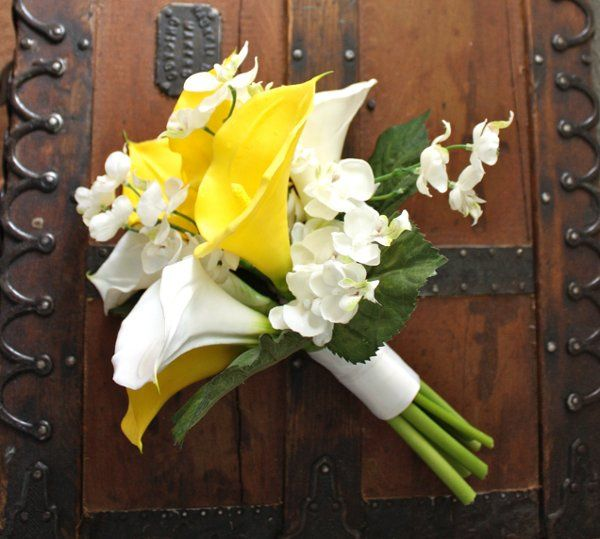 Yellow Calla and Orchid Bouquet (real touch flowers)