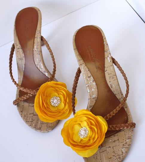 Yellow Shoe Clip Flowers (handmade shoe accessory-- great for bridesmaid gifts!)