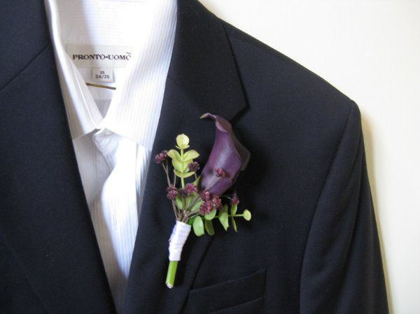 Purple Calla Lily Boutonniere (real touch flowers and leaves)
