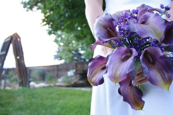 Purple Calla Lily Bouquet (real touch and silk flowers)