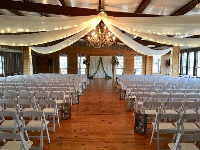400 chair set up for ceremony