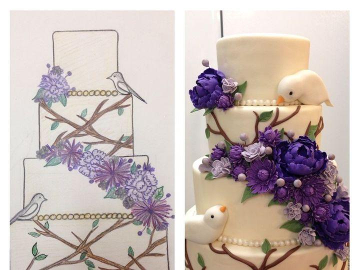 Tmx 1457546176373 Purple Bird Wedding Jenks wedding cake