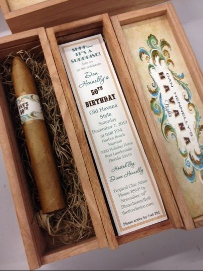 Cigar Box Invitation Visit our website for more pictures and contact information!...