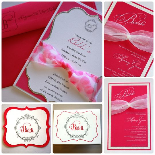 Pink, White, and Silver Invitation Suite Visit our website for more pictures and contact...