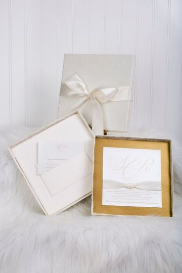 Custom designed multi-layer wedding invitation inside a textured silk covered box. Inner pocket was...