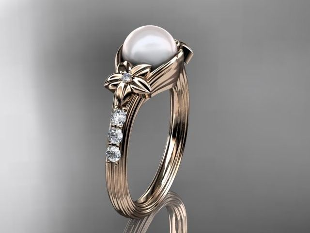 ap333 rose gold pearl diamond wedding band diamond