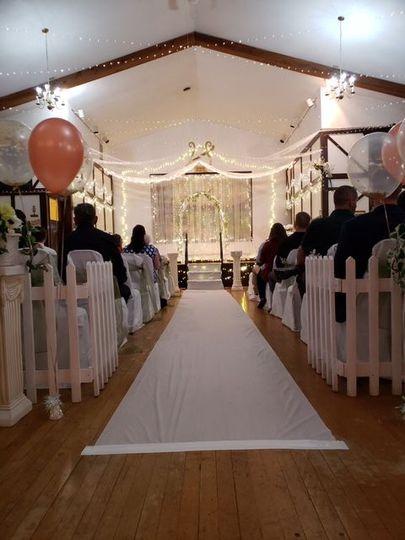 Riverside indoor ceremony