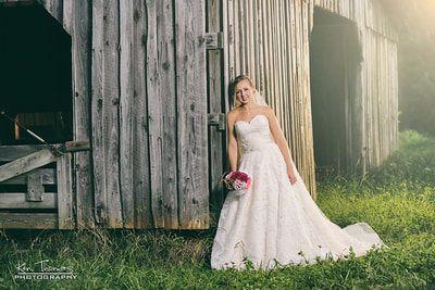 Bride outside the barn