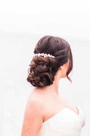 Romantic updo with accessory