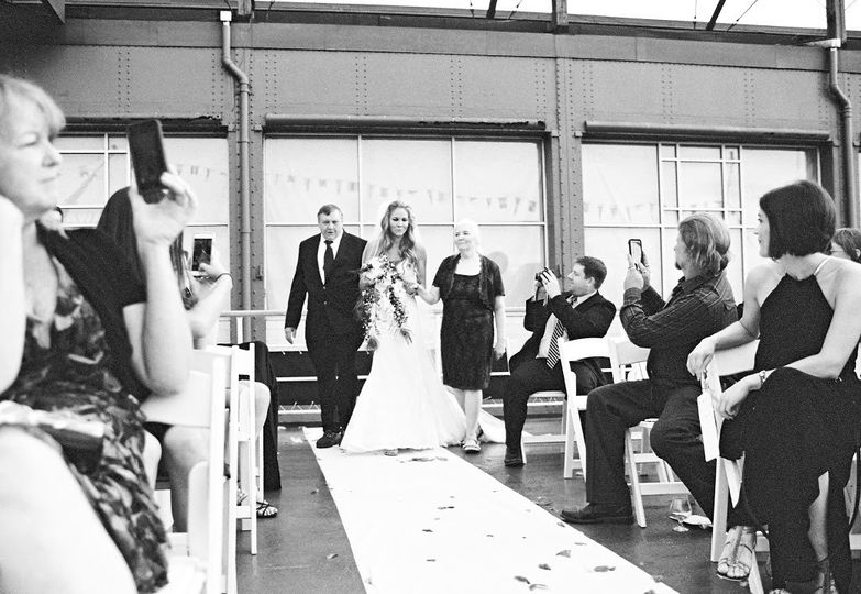 Black and white photo of the aisle