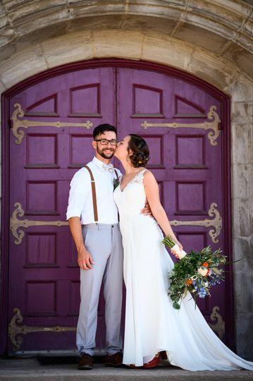 Couple at church door
