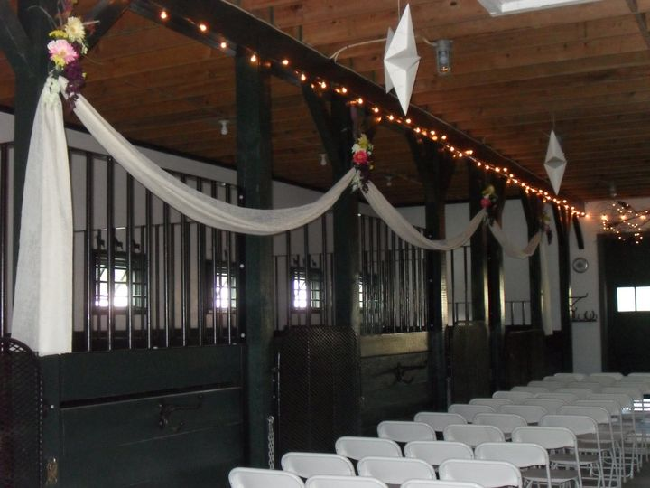 Barn wedding setup