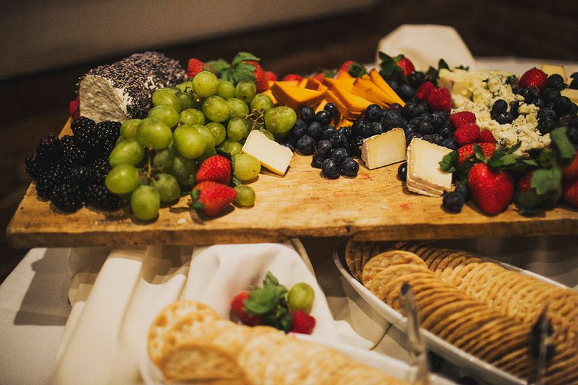 Fruits, cheese and crackers