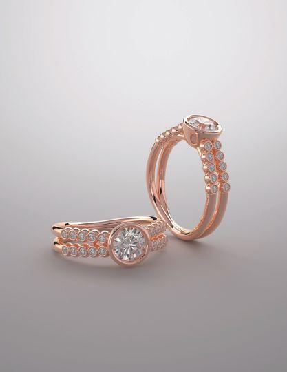 14k rose gold diam bridal sets
