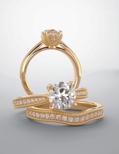18k ygold matching bridal sets