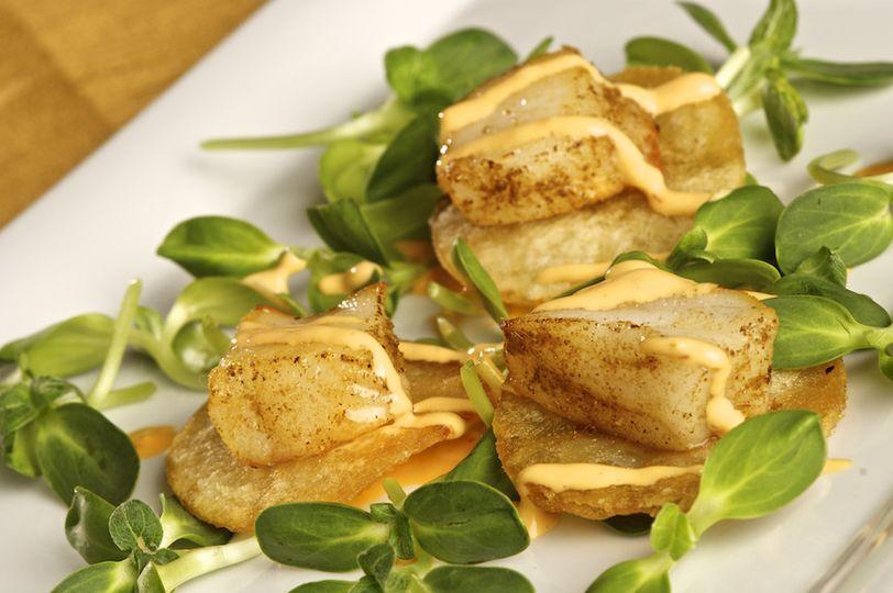 angelika sea bass with potato crisp micro cilantro